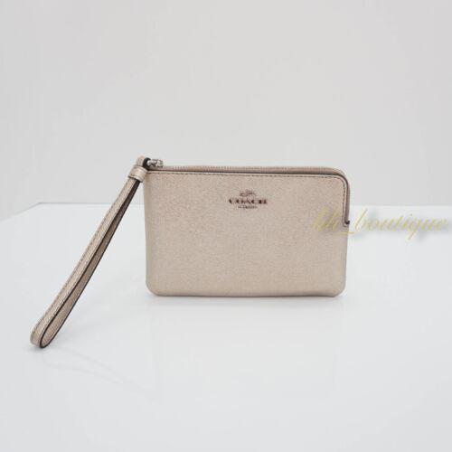 NWT Coach F21070 Corner Zip Wristlet Wallet Metallic Leather Platinum Light Gold