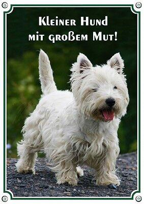 Aktiv Hunde Warnschild - Westie - West Highland Terrier - Metallschild - 1a Qualität