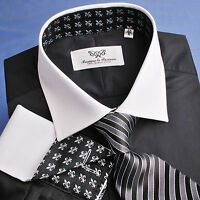Black Event Formal Business Dress Shirt Contrast White Cuff Dinner Special Wear