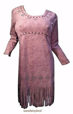 Pretty Angel Size S, L, Microsuede Brown Dress with Fringe  & Studs BOHO 10887