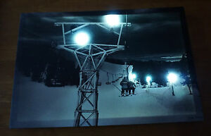 Ski Lift Lodge Sign Lighted Snow Skiing Skier Cabin Canvas Home Light Decor NEW