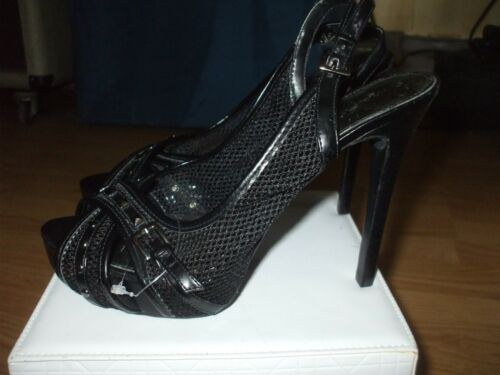 Marc Fisher black mesh patent leather studs platfo