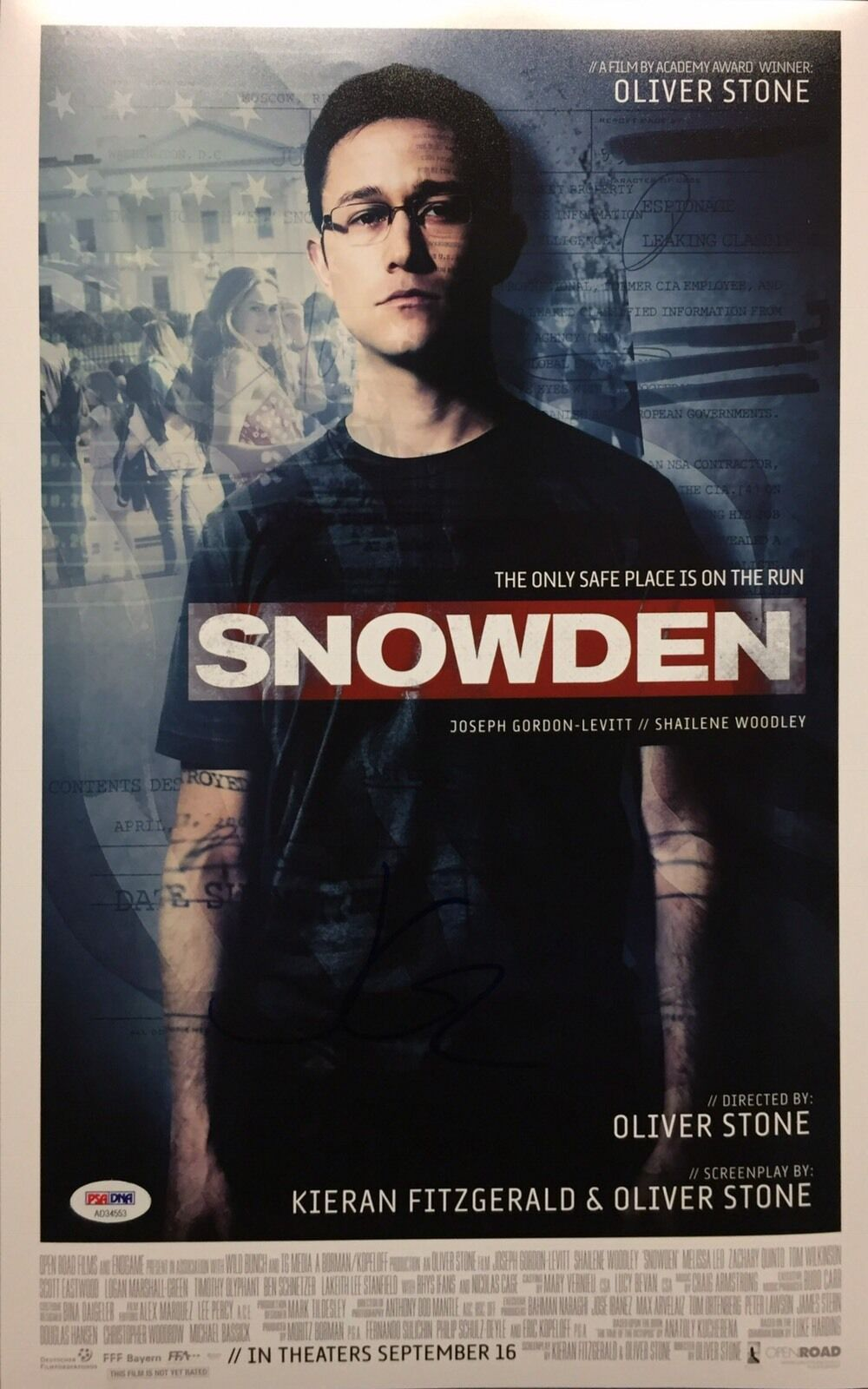 Joseph Gordon-Levitt Signed Snowden 11x17 Photo PSA AD34553