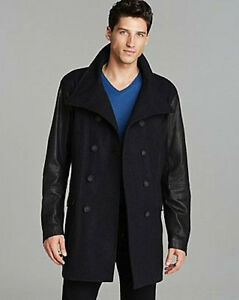 0e85df1b0 Men s Diesel L-Rondel Overcoat Jacket Black Wool w Leather sleeves ...