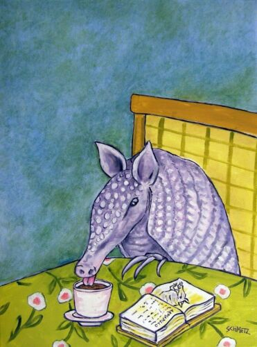 ARMADILLO COFFEE  art print animals impressionism 8x10 new gift