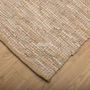 Comercio-Justo-90x150cm-cuero-hecho-a-mano-yute-Rustico-Chindi-Alfombra-De-Trapo-Rojo-Azul-Marron
