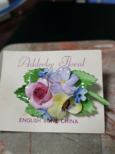 Vintage Adderley Floral Bone China Pin