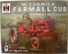 Vintage Replica Tin Metal Sign Farmall Cub mower big mc cormick IH tractor 2132