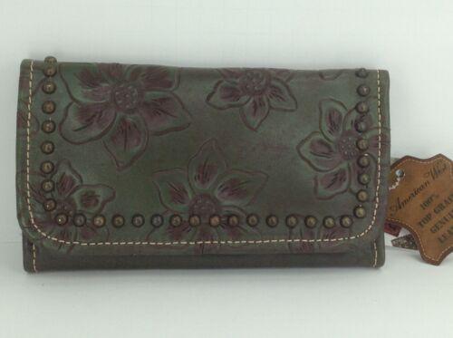 $89 MSRP Women/'s AMERICAN WEST Brand Dark Green GENUINE LEATHER TriFold Wallet