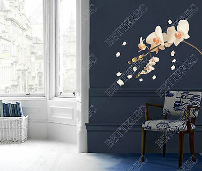 Creamy Orchid Flowers Tree Wall Stickers Art Decor Home Shop Nursery Mural Decal