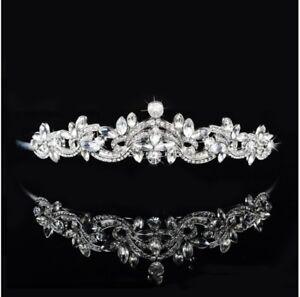 a41dd3e58 Image is loading Bridal-Wedding-Swarovski-Crystal-Tiara-hair-crown