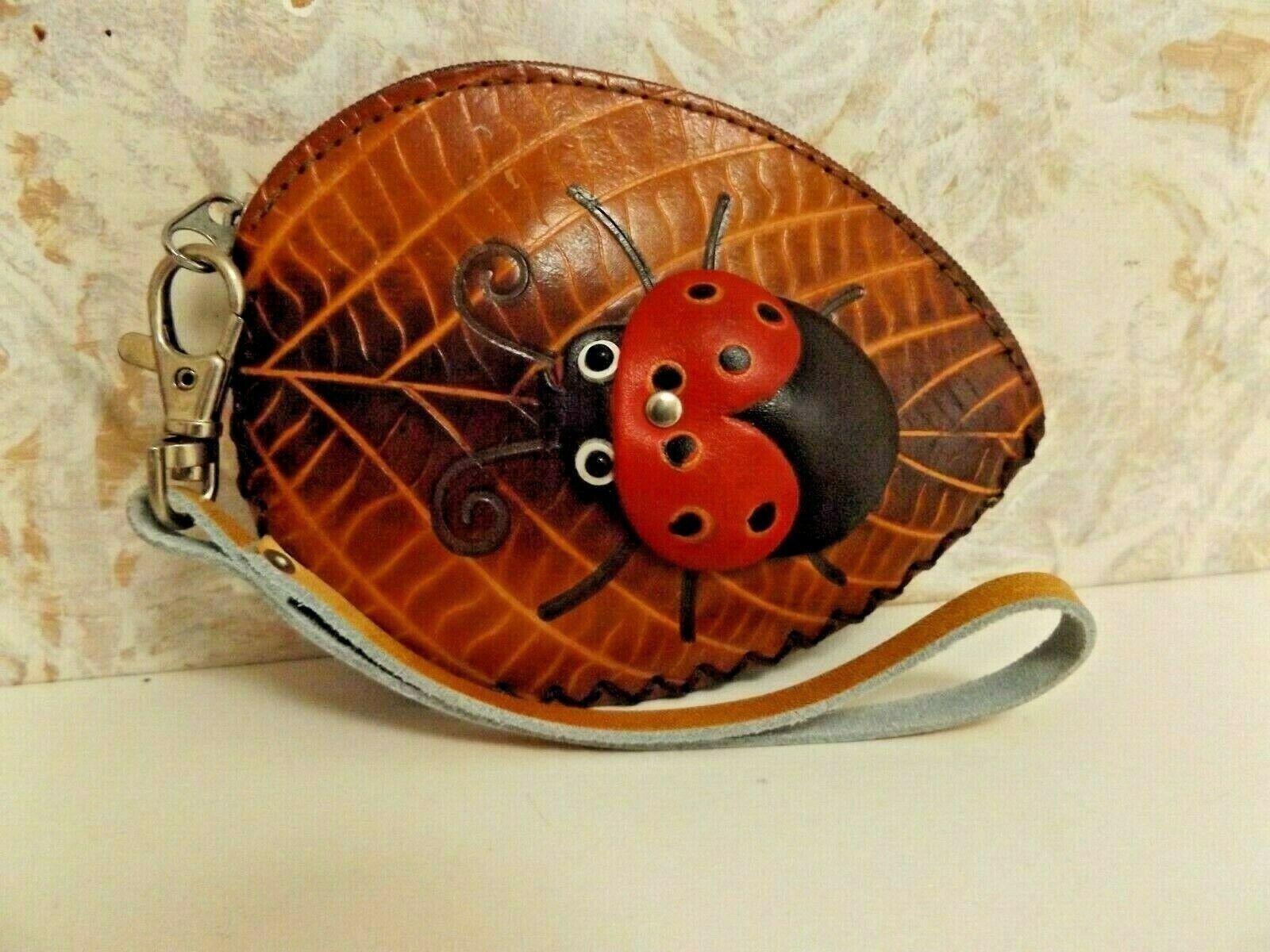 Leaf & Lady Bug Leather Zip Wristlet New
