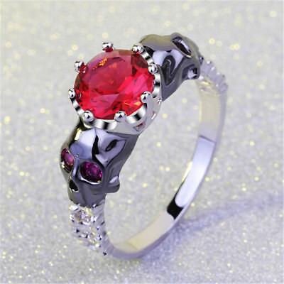 RED1 Damen Edelstahl Ring Skull/&Rose Totenkopf Gothic EMO Geschenk Cool