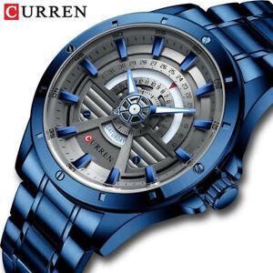 CURREN Men Quartz Watch Fashion Stainless Steel Watch with Date Week Wristwatch