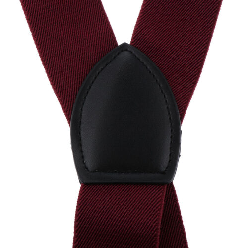 Fashion Adjustable and Elastic Solid Color Men/'s Suspenders with Metal Clips