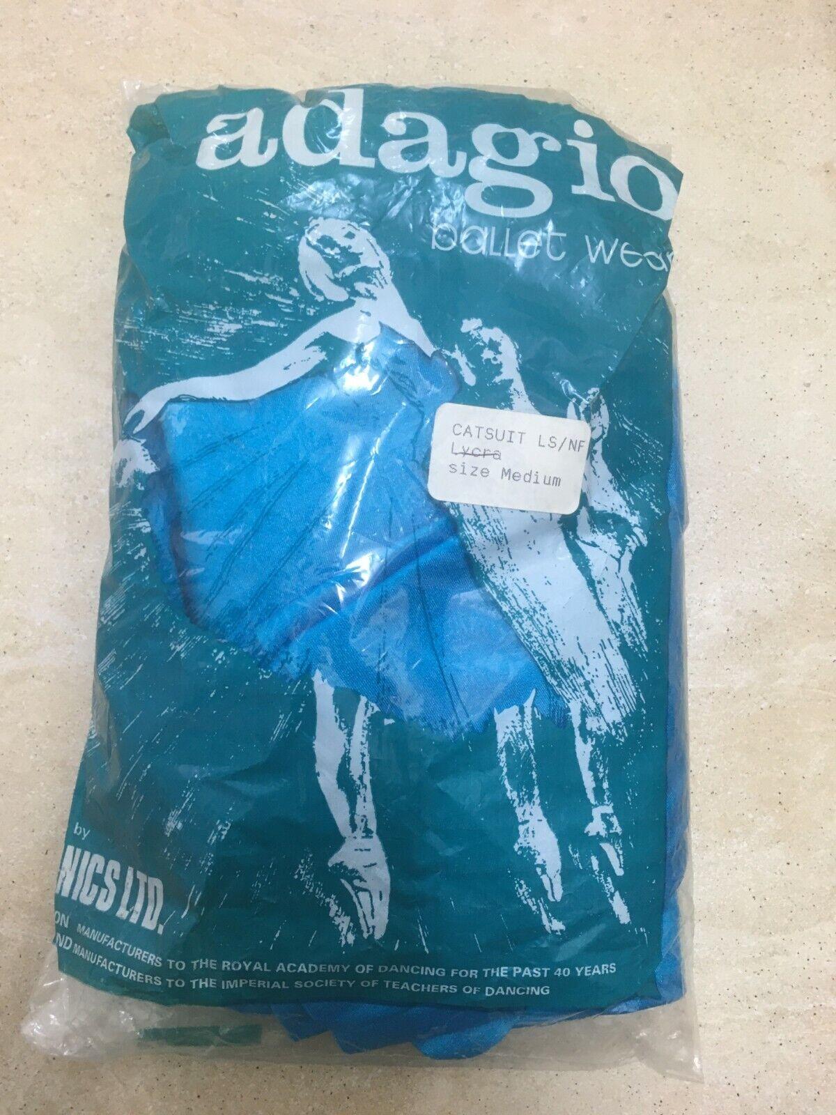 Adagio Womens Long Sleeve No Feet Shiny Catsuit Medium 10/12 Uk BNWT Turquoise