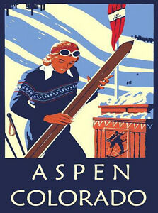 Colorado Ski Winter Race Sport Skis  Mountain Vintage Poster Repro FREE S//H