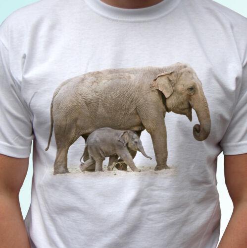 Elephants white t shirt animal tee top design mens womens kids baby