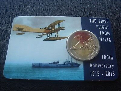 MALTA 2 € commemorative euro coin 2015 Centenary of the first flight from Malta