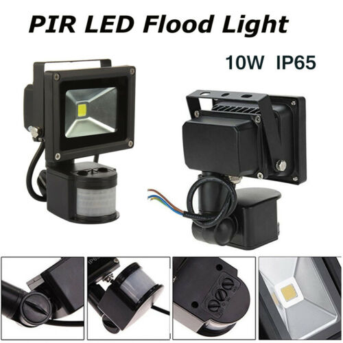 10w PIR Motion Sensor LED Floodlight Cool White Yard Outdoor Standard Flood Lamp