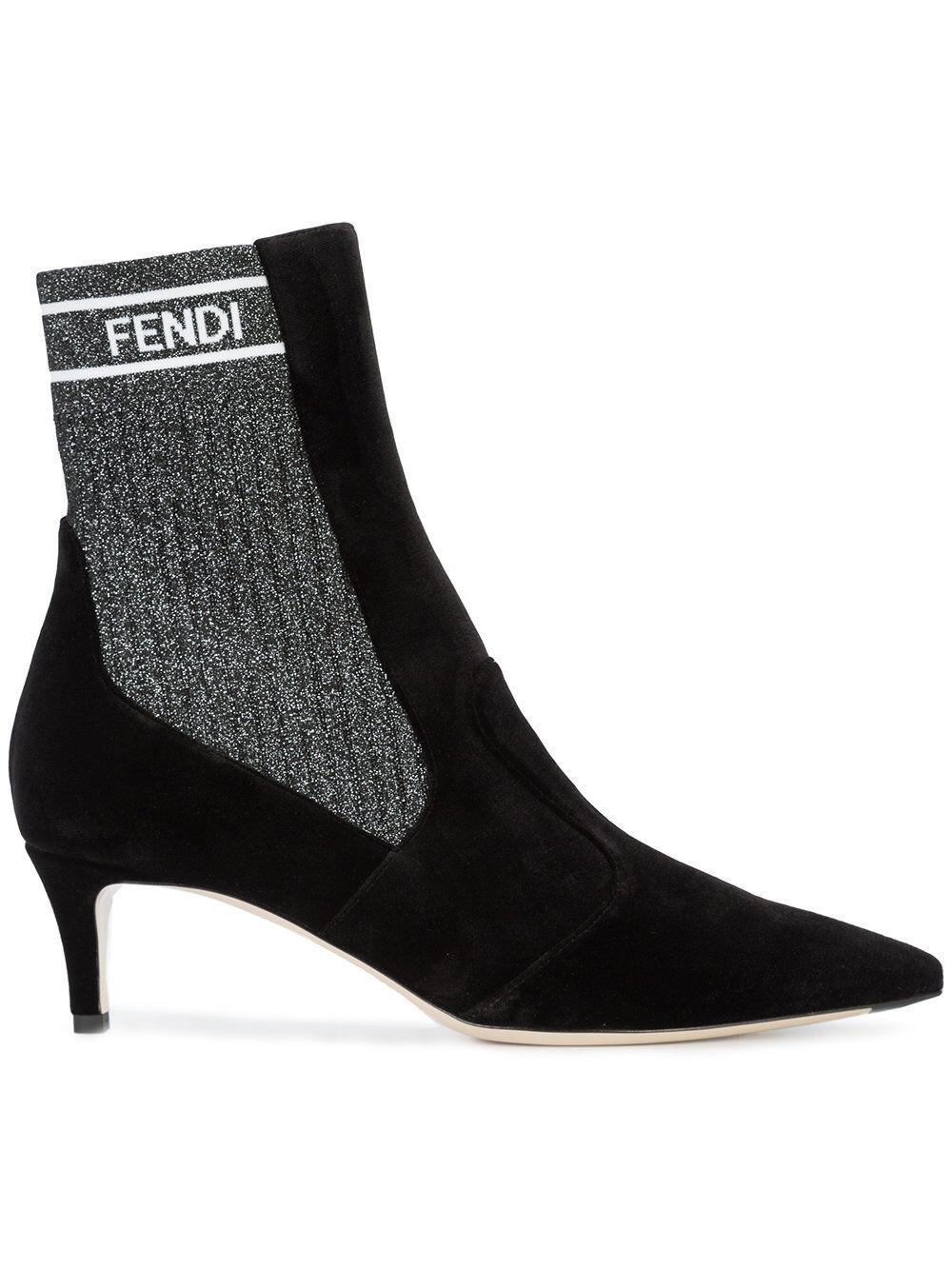NIB NEW Fendi Rockoko women black velvet socks booties boots logo 37.5 38.5