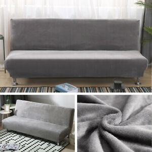 Stretch Armless Sofa Bed Cover Velvet Folding Futon Couch Slipcover// Pillow Case