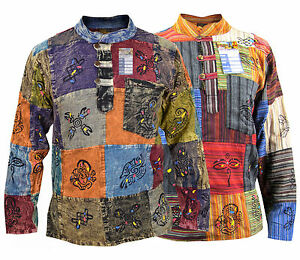 Hippie-Patchwork-Grandad-Stonewashed-Cotton-Natural-Psychedelic-Shirts-Kurthas