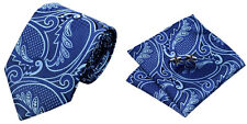 Blue Novelty 100% Silk Classic Mens Necktie Tie Hanky Cufflink Set NT144