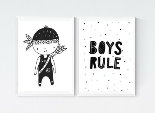 2 Black /& White Prints Boys Rule Quote Tribal Nursery Room Wall Art Decor Gift