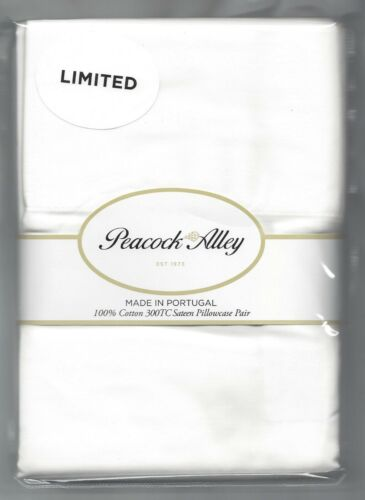 Peacock Alley Pair Pillowcases 100/% Cotton Sateen 300TC Standard or King White
