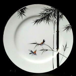 Kutani-Hayasi-Bamboo-Birds-8-Salad-Plates-7-5-034-Platinum-Mid-Century-More-Avail