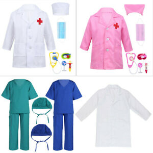 Unisex Kids Medical Doctor Uniform Surgeon Costume Lab Coat Nursing Outfit Set