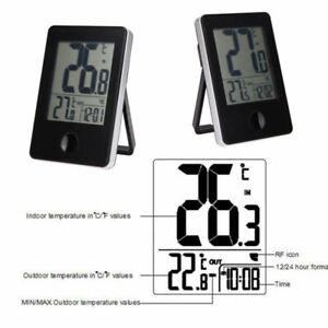 DE Funk Wetterstation Thermometer Barometer Uhr Display Innen Außensensor