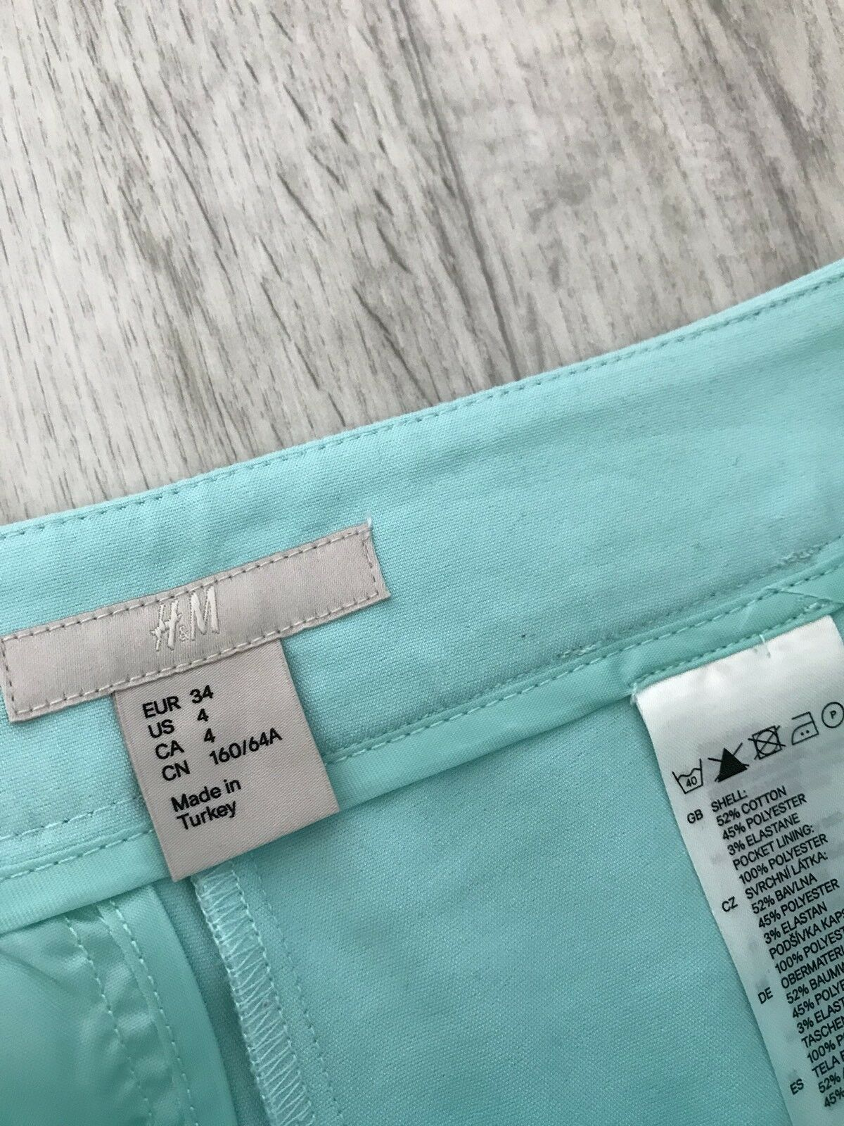 H&M H&M H&M TREND BLOGGER Luce Turchese Blu verde City Pantaloncini Uk 8 US 4 EUR 34 417fe1