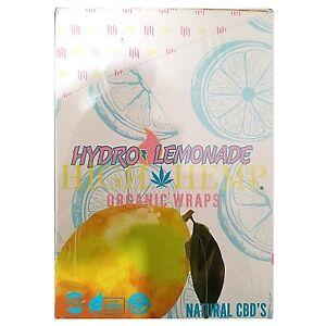 High Hemp Organic Wrap 25 Pouch in Full Box 2 in Pouch 50 Wraps (Hydro Lemonade)