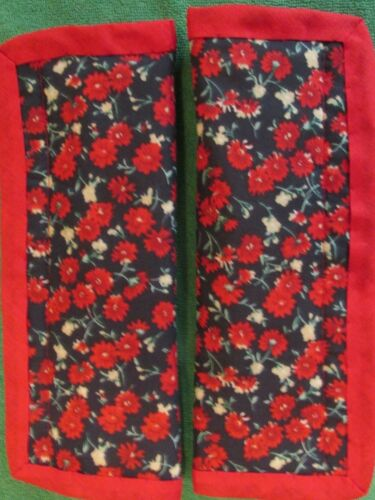 Red Flowers on Navy X2 Red Trim Lightly padded Car Seat Belt Cover Pads