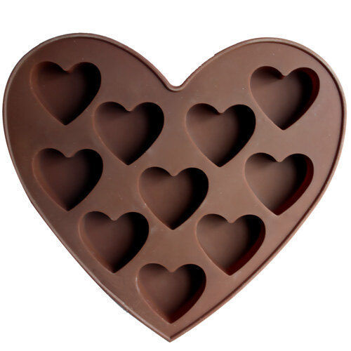 10-Heart Cake Mold Cookie Mould Flexible Silicone Mold Chocolate Mould Polymer