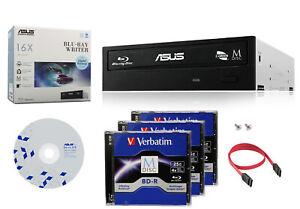 ASUS 16X Blu-ray Burner+FREE 3pk MDisc BD+SW+SATA Cable Optical Internal Drive