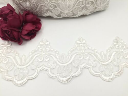 Ivory Colour  Bridal Lace  Embroidered Trim Ribbon Wedding dresses Edging 4/'/'