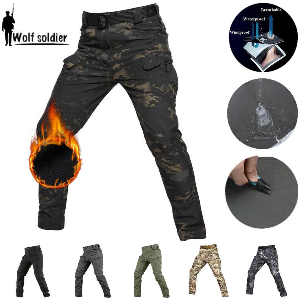 Windproof Mens Tactical Pants Combat Cargo Fleece Waterproof Softshell Casual