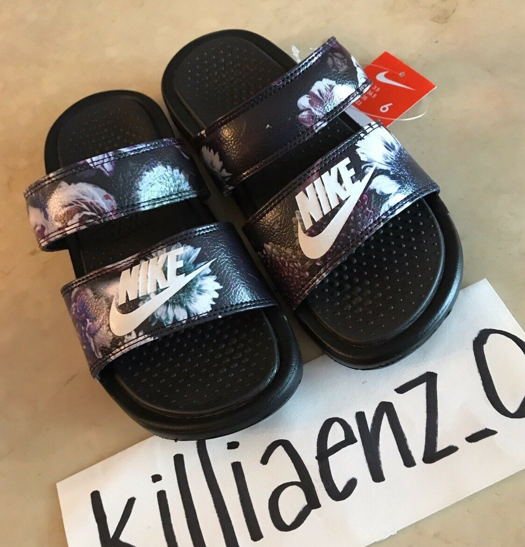 RARE Women's Nike Benassi Duo Ultra Premium Slides Floral Black Size 6