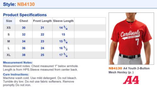 NB4130 A4 Boys Moisture Wicking Polyester Short Sleeve Henley Sports T-Shirt