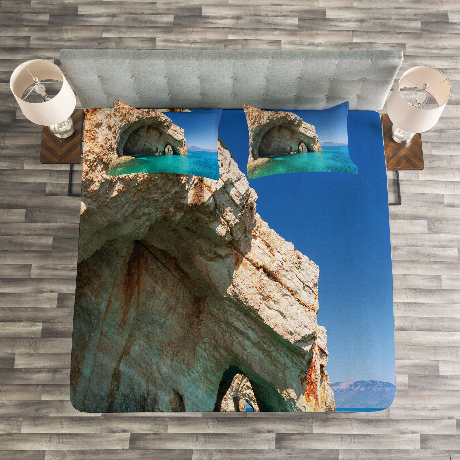 Marine Quilted Bedspread & Pillow Shams Set, Sea Cave on Zakynthos Print