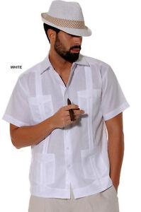 Mens-Bohio-100-Linen-White-Cuban-Classic-Guayabera-4-Pocket-Shirt-S-2XL-LS499