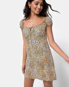 MOTEL-ROCKS-Gaval-Mini-Dress-in-Mini-Tiger-Brown-Size-Small-S-mr12