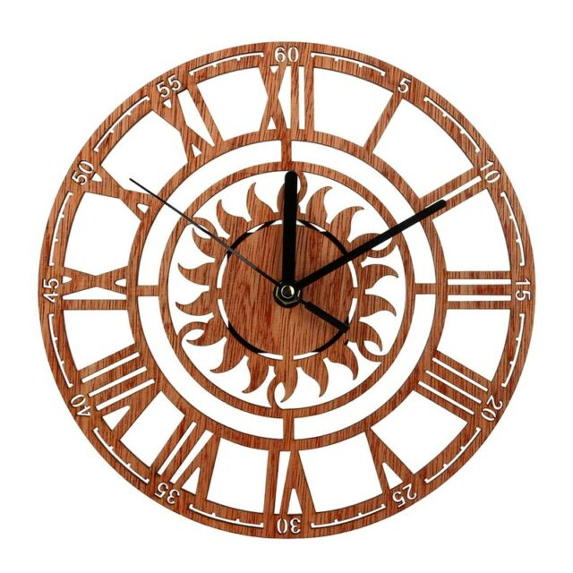 Vintage Wooden Wall Clock Shabby Chic Rustic Kitchen Home Antique Watches D N3H8