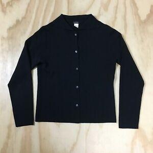 J-Crew-100-Merino-Wool-Black-Cardigan-Fine-Knit-Sweater-Women-039-s-L