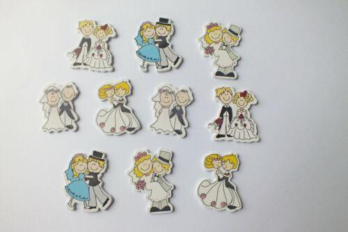 10 bois peint Boutons pas de trous Embellissements MARIAGE MARIES Set 1