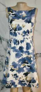 ANN TAYLOR White Blue Tan Watercolor Floral Sleeveless Dress 6 100% Cotton Lined