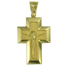 Anhänger Kreuz Korpus Massiv Gold 585er Gelbgold Herren Damen Kruzifix Goldkreuz